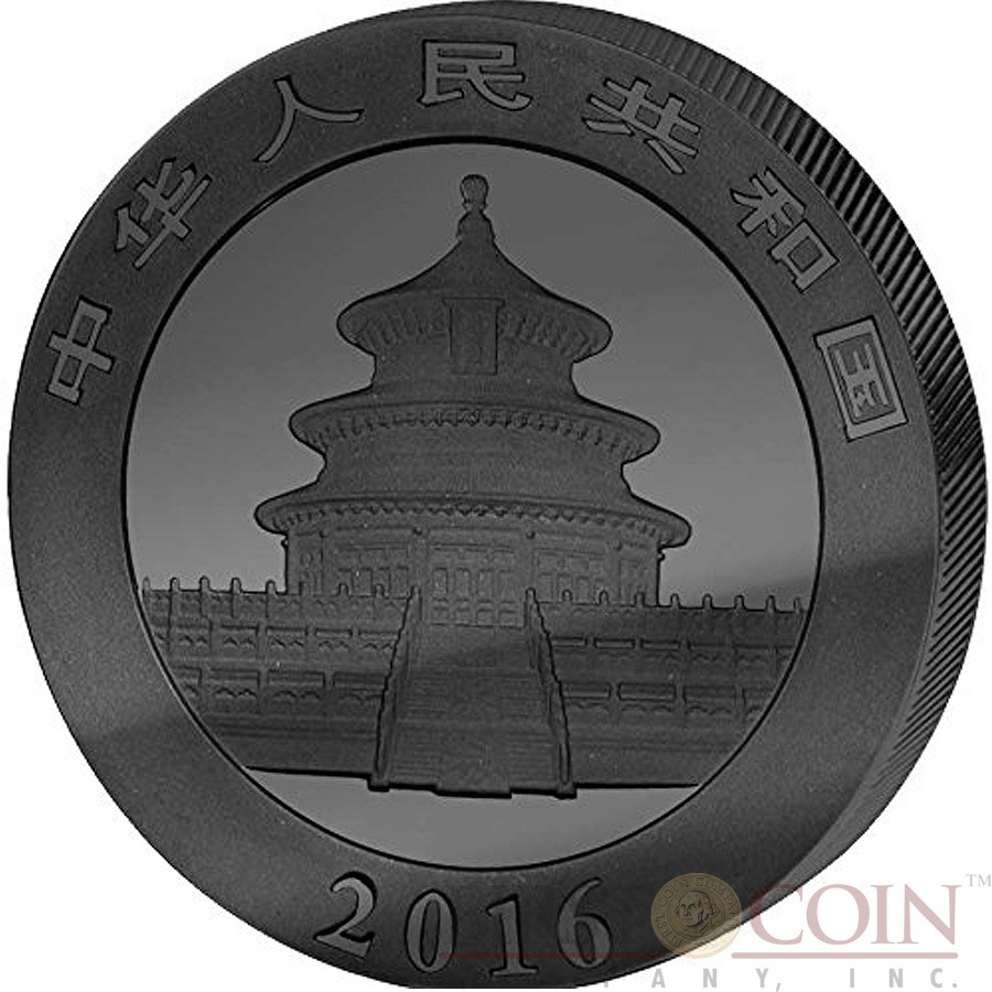 China CHINESE PANDA series GOLDEN ENIGMA 2016 Silver Coin ¥10 Yuan Black Ruthenium & Gold Plated 30 grams