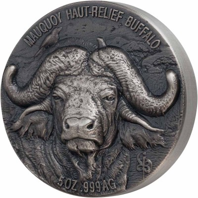 Ivory Coast WATER BUFFALO series BIG FIVE MAUQUOY HAUT RELIEF 5000 Francs Silver coin Ultra High Relief 2020 Antique finish 5 oz