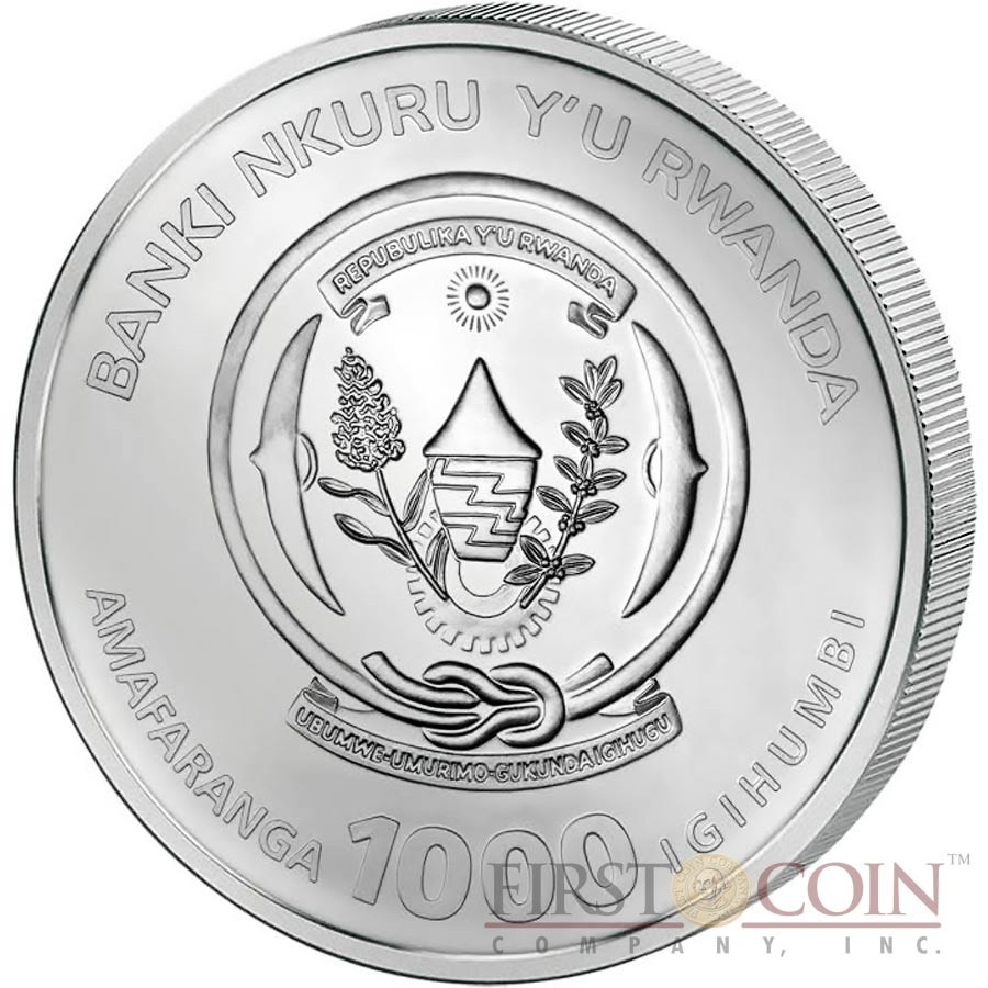Rwanda 3D GREAT CHINESE PANDA WITH BABY Silver Pavé Coin 1000 Francs 2015 Czech Pave Gemstones 3 oz