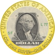 USA QUARANTINED ART - DOLLAR BILL GEORGE WASHINGTON FACE MASK series CORONAVIRUS American Silver Eagle 2020 Walking Liberty $1 Silver coin Gold plated 1 oz