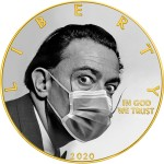 USA QUARANTINED ART - SALVADOR DALI FACE MASK series CORONAVIRUS American Silver Eagle 2020 Walking Liberty $1 Silver coin Gold plated 1 oz