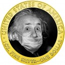 USA QUARANTINED ART - ALBERT EINSTEIN FACE MASK series CORONAVIRUS American Silver Eagle 2020 Walking Liberty $1 Silver coin Gold plated 1 oz