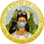 USA QUARANTINED ART - FRIDA KAHLO FACE MASK series CORONAVIRUS American Silver Eagle 2020 Walking Liberty $1 Silver coin Gold plated 1 oz