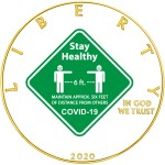 USA STAY HEALTHY COVID-19 series CORONAVIRUS American Silver Eagle 2020 Walking Liberty $1 Silver coin Gold plated 1 oz
