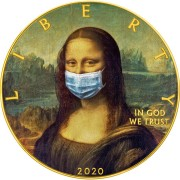USA QUARANTINED ART - MONA LISA FACE MASK - LA GIOCONDA Da Vinci series CORONAVIRUS American Silver Eagle 2020 Walking Liberty $1 Silver coin Gold plated 1 oz