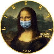 USA CORONAVIRUS QUARANTINED ART - MONA LISA FACE MASK - LA GIOCONDA Da Vinci series CORONAVIRUS American Silver Eagle 2020 Walking Liberty $1 Silver coin Gold plated 1 oz