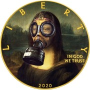 USA CORONAVIRUS QUARANTINED ART - MONA LISA GAS MASK - LA GIOCONDA Da Vinci series CORONAVIRUS American Silver Eagle 2020 Walking Liberty $1 Silver coin Gold plated 1 oz