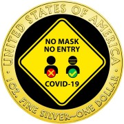 USA NO MASK NO ENTRY COVID-19 series CORONAVIRUS American Silver Eagle 2020 Walking Liberty $1 Silver coin Gold plated 1 oz