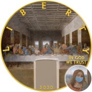 USA QUARANTINED ART - LAST SUPPER FACE MASK -  Leonardo da Vinci series CORONAVIRUS American Silver Eagle 2020 Walking Liberty $1 Silver coin Gold plated 1 oz