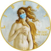 USA QUARANTINED ART - BIRTH OF VENUS FACE MASK - Botticelli series CORONAVIRUS American Silver Eagle 2020 Walking Liberty $1 Silver coin Gold plated 1 oz