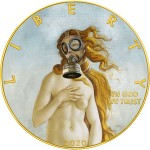 USA QUARANTINED ART - BIRTH OF VENUS GAS MASK - Botticelli series CORONAVIRUS American Silver Eagle 2020 Walking Liberty $1 Silver coin Gold plated 1 oz