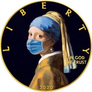 USA CORONAVIRUS QUARANTINED ART - GIRL with a PEARL EARRING - FACE MASK - VERMEER series CORONAVIRUS American Silver Eagle 2020 Walking Liberty $1 Silver coin Gold plated 1 oz