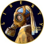 USA CORONAVIRUS QUARANTINED ART - GIRL with a PEARL EARRING - GAS MASK - VERMEER series CORONAVIRUS American Silver Eagle 2020 Walking Liberty $1 Silver coin Gold plated 1 oz