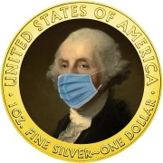 USA QUARANTINED ART - GEORGE WASHINGTON FACE MASK 1st President of USA series CORONAVIRUS American Silver Eagle 2020 Walking Liberty $1 Silver coin Gold plated 1 oz