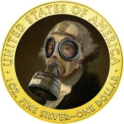 USA QUARANTINED ART - GEORGE WASHINGTON GAS MASK 1st President of USA series CORONAVIRUS American Silver Eagle 2020 Walking Liberty $1 Silver coin Gold plated 1 oz