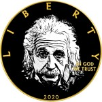 USA ALBERT EINSTEIN series WE CHANGED THE WORLD American Silver Eagle 2020 Walking Liberty $1 Silver coin Gold plated 1 oz