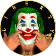 USA JOKER - MOUTH series MOVIE HEROES American Silver Eagle 2020 Walking Liberty $1 Silver coin Gold plated 1 oz