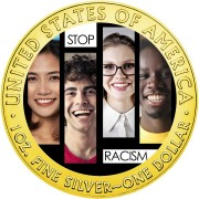 USA STOP RACISM Faces American Silver Eagle 2020 Walking Liberty $1 Silver coin Gold plated 1 oz