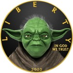 USA CONFIDENT YODA STAR WARS series MOVIE HEROES American Silver Eagle 2020 Walking Liberty $1 Silver coin Gold plated 1 oz