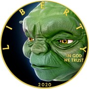 USA THINKING YODA STAR WARS series MOVIE HEROES American Silver Eagle 2020 Walking Liberty $1 Silver coin Gold plated 1 oz