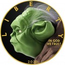 USA PURPOSEFUL YODA STAR WARS series MOVIE HEROES American Silver Eagle 2020 Walking Liberty $1 Silver coin Gold plated 1 oz