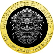 USA ZEUS series POWERFUL GODS American Silver Eagle 2020 Walking Liberty $1 Silver coin Gold plated 1 oz