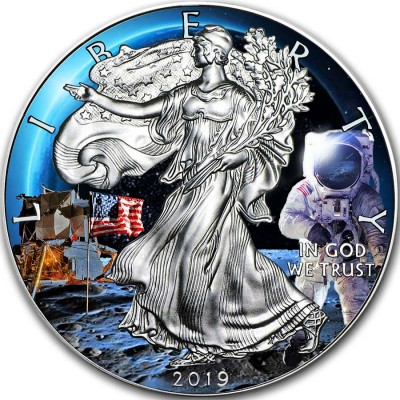 USA APOLLO-11 MOON LANDING FIRST WALK ON THE MOON American Silver Eagle 2019 Walking Liberty $1 Silver coin 1 oz