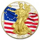 USA BETSY ROSS U.S. FLAG 1777 American Silver Eagle 2019 Walking Liberty $1 Silver coin Gold plated 1 oz