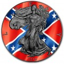 USA CONFEDERATE FLAG American Silver Eagle 2019 Walking Liberty $1 Silver coin Ruthenium plated 1 oz