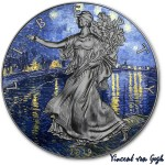 USA VINCENT VAN GOGH - STARRY NIGHT OVER THE RHONE - MODERN ART American Silver Eagle 2019 Walking Liberty $1 Silver coin Ruthenium plated 1 oz