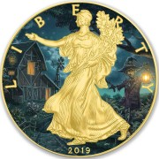 USA HALLOWEEN HOUSE American Silver Eagle 2019 Walking Liberty $1 Silver coin Gold plated 1 oz
