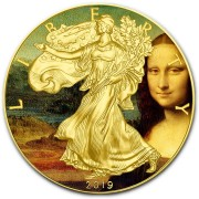 USA LEONARDO DA VINCI - MONA LISA LA GIOCONDA - CLASSIC ART American Silver Eagle 2019 Walking Liberty $1 Silver coin Gold plated 1 oz