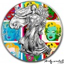 USA ANDY WARHOL - MARILYN DIPTYCH - MODERT ART American Silver Eagle 2019 Walking Liberty $1 Silver coin 1 oz