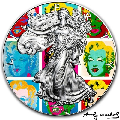 USA ANDY WARHOL - MARILYN DIPTYCH - MODERN ART American Silver Eagle 2019 Walking Liberty $1 Silver coin 1 oz