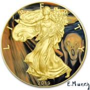 USA EDVARD MUNCH - THE SCREAM - CLASSIC ART American Silver Eagle 2019 Walking Liberty $1 Silver coin Gold plated 1 oz
