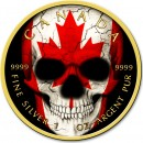 Canada SKULL CANADIAN MAPLE LEAF $5 Dollars Silver Coin 2019 Gold plated 1 oz