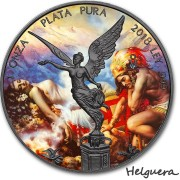 Mexico JESUS HELGUERA - THE LEGEND OF THE VOLCANOES - CLASSIC ART LIBERTAD 1 Onza Silver coin 2018 Ruthenium plated 1 oz