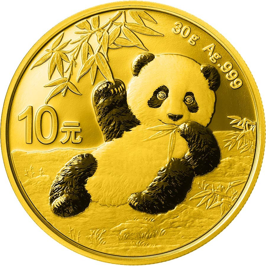China (front) GOLD MASK CHINESE HERITAGE 1600 B.C. CHINESE PANDA ¥10 Yuan Silver coin 2020 Gold plated 30 grams