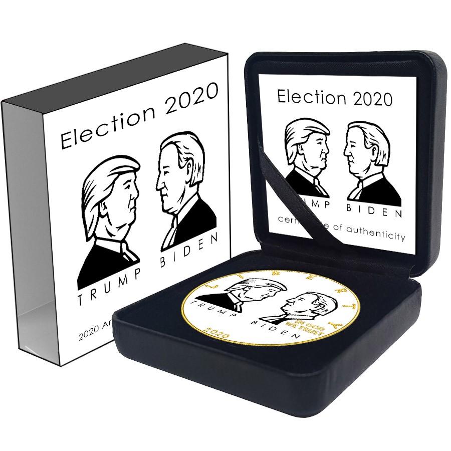 USA TRUMP vs. BIDEN ELECTION American Silver Eagle 2020 Walking Liberty $1 Silver coin Gold plated 1 oz