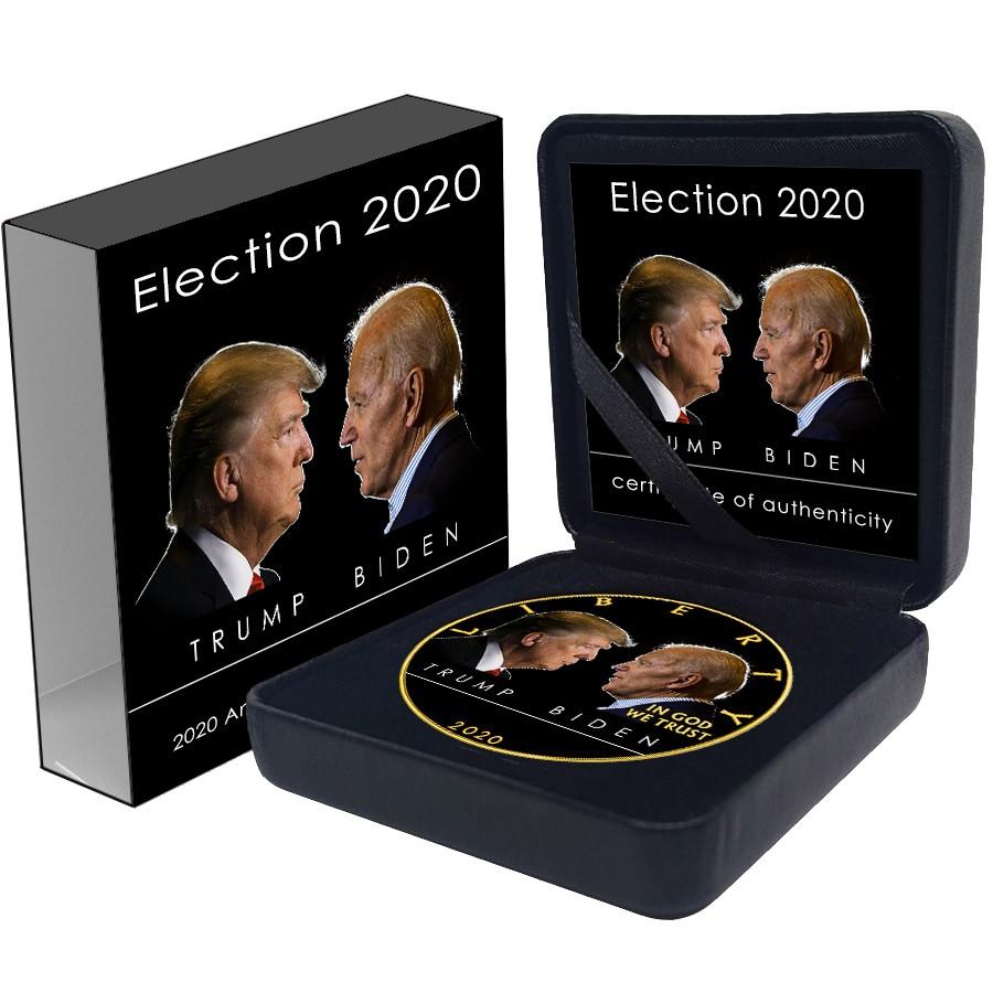 USA TRUMP vs. BIDEN DEBATE American Silver Eagle 2020 Walking Liberty $1 Silver coin Gold plated 1 oz