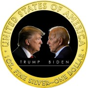 USA TRUMP vs. BIDEN DEBATE American Silver Eagle 2020 Walking Liberty $1 Silver coin Gold plated 1 oz