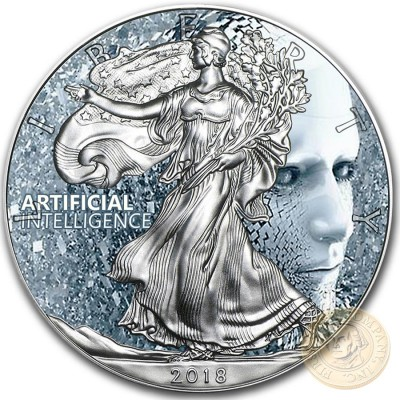 USA ARTIFICIAL INTELLIGENCE LIFE American Silver Eagle 2018 Walking Liberty $1 Silver coin 1 oz