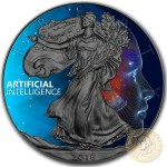 USA ARTIFICIAL INTELLIGENCE CODE 3 American Silver Eagle 2018 Walking Liberty $1 Silver coin Ruthenium plated 1 oz