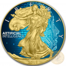 USA ARTIFICIAL INTELLIGENCE CODE American Silver Eagle 2018 Walking Liberty $1 Silver coin Gold plated 1 oz