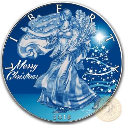 USA MERRY CHRISTMAS SNOW LIBERTY American Silver Eagle 2018 Walking Liberty $1 Silver coin 1 oz