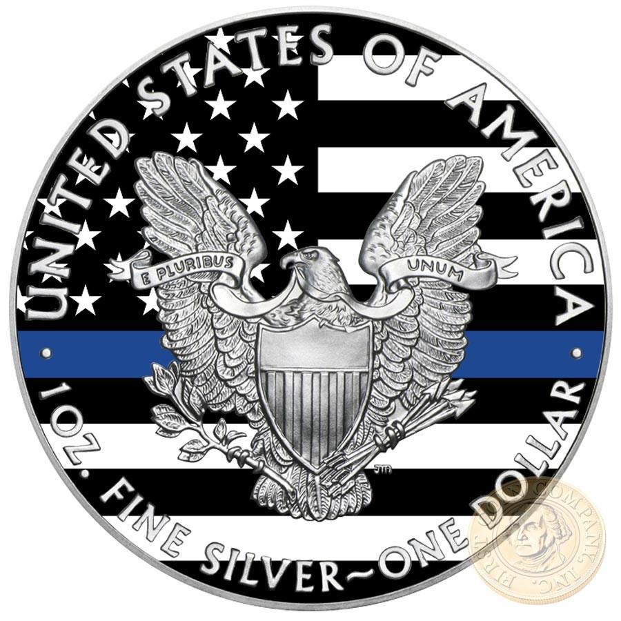 USA BLUE LIVES MATTER American Silver Eagle 2018 Walking Liberty $1 Silver coin 1 oz