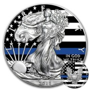 USA BLUE LIVES MATTER American Silver Eagle 2018 Walking Liberty $1 Silver coin 1 oz