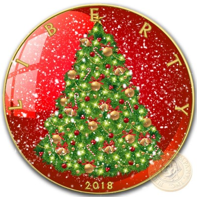 USA CHRISTMAS TREE SNOW GLOBE American Silver Eagle 2018 Walking Liberty $1 Silver coin Gold Plated 1 oz
