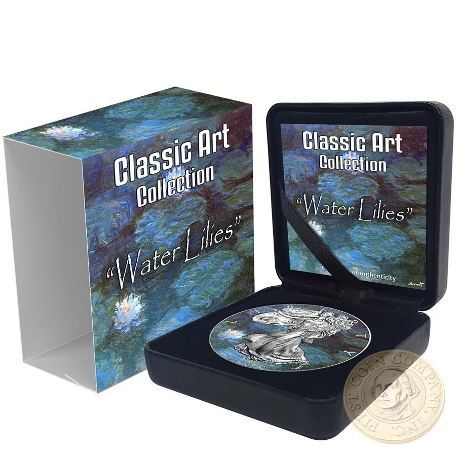 USA CLAUDE MONET - WATER LILIES - CLASSIC ART American Silver Eagle 2018 Walking Liberty $1 Silver coin 1 oz