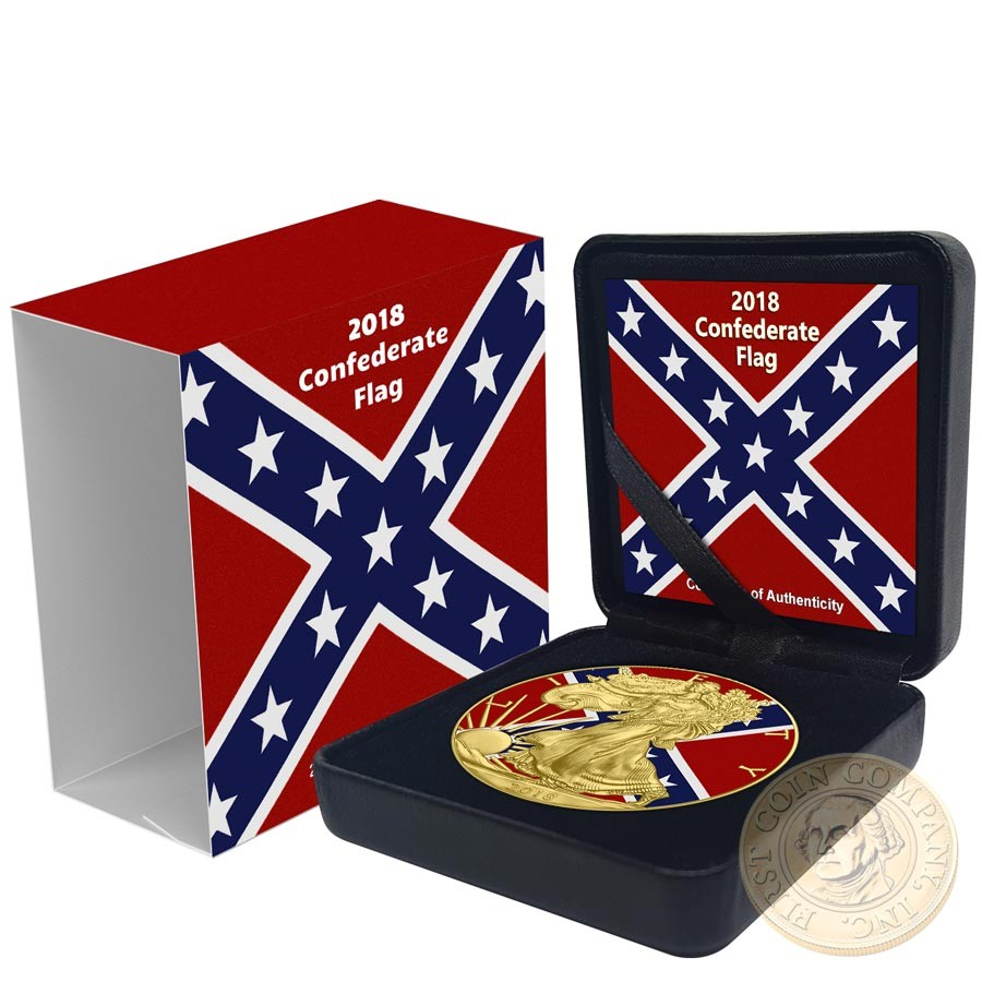 Usa Confederate Flag American Silver Eagle 2018 Walking